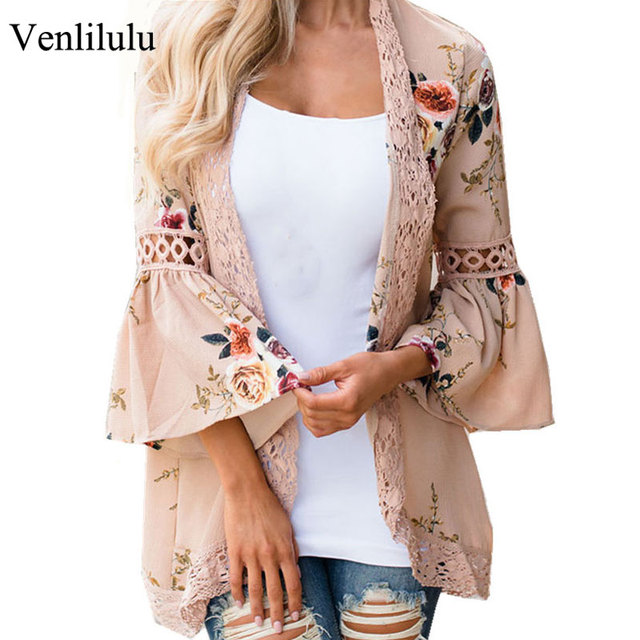 9b7e2f341 Mulheres Blusa de renda Chiffon 2019 Primavera Verão Praia Kimono Abrir  Ponto Floral Blusas Camisas Femininas Boho Mulher Oco Out