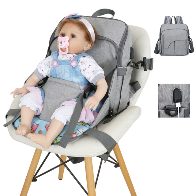 Fixed chair fashion mummy maternity baby nappy bag backpack usb waterproof nurse diaper bags for mom baby stroller organizer | Happy Baby Mama