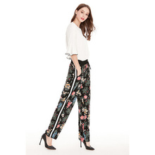 pantalones mujer spodnie damski Women Pants Casual Vintage Loose Waist Black White Bar Sculpture Print Drawstring Straight Pants slogan print drawstring waist pants
