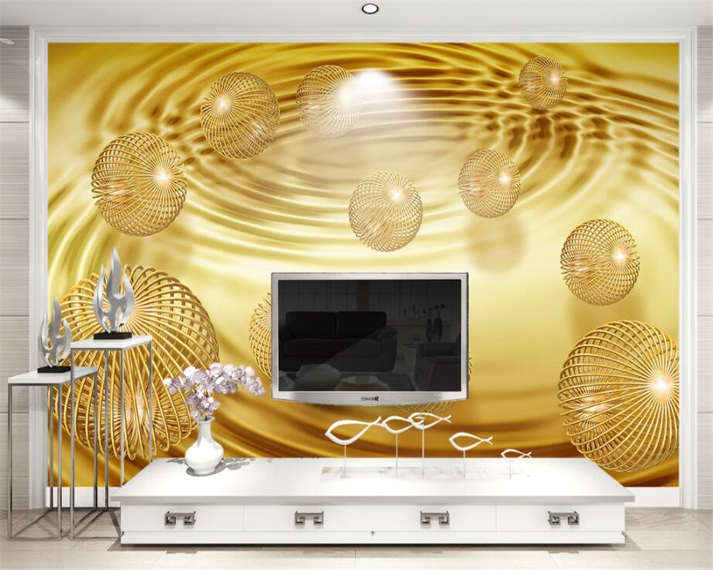 beibehang Custom Wallpaper Home Decorative Mural 3d Gold Ball Abstract Creative Space TV ...