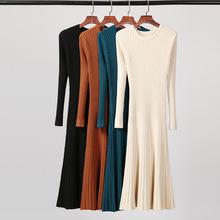 Autumn Knitted Dress Women Long Sweater Female Sweaters Ladies Sleeve Winter Solid