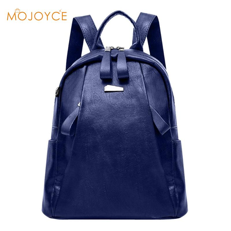 Solid Zipper Backpacks Women High Quality PU Leather Fashion Travel Casual School Bags For Teenagers Girls Travel Rucksacks 2018