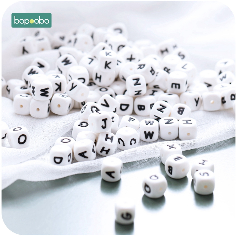 Bopoobo 100pc Silicone Beads Baby Teething Letters Beads Baby Rattle Silicone Pearl Teether Beads 12mm Baby Silicone Teether