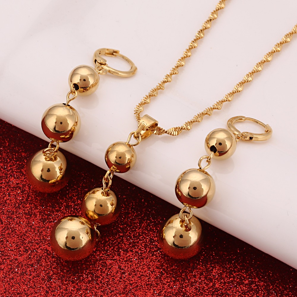 Bead Pendant Necklaces & Earrings Sets For Women Teenage Round Ball Jewelry Party Gifts