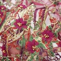 15 YARD Luxury heavy handmade beaded bridal fabric Very Beautiful 3D flowrs wedding dress lace fabric with beads sequin RG544