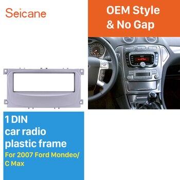 Seicane シルバーダッシュボードパネル Fram トリムキット 1Din のカーラジオ筋膜 2007 フォードモンデオ C 最大 183*54 ミリメートル OEM no ギャップ