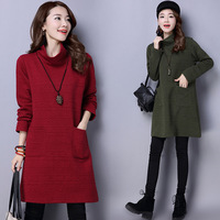 New Korean Style Girl S Comfortable Long Sleeves Fashion Autumn Winter Cotton Blended Dress Sweet Girl