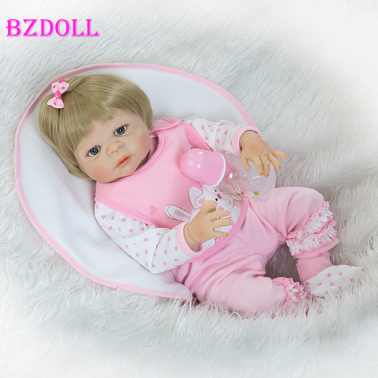 55cm Full Silicone Reborn Baby Doll Toy Newborn Girl Babies Doll Lovely Birthday Gift Fashion Play House Bathe Toy Girl Brinqued55cm Full Silicone Reborn Baby Doll Toy Newborn Girl Babies Doll Lovely Birthday Gift Fashion Play House Bathe Toy Girl Brinqued