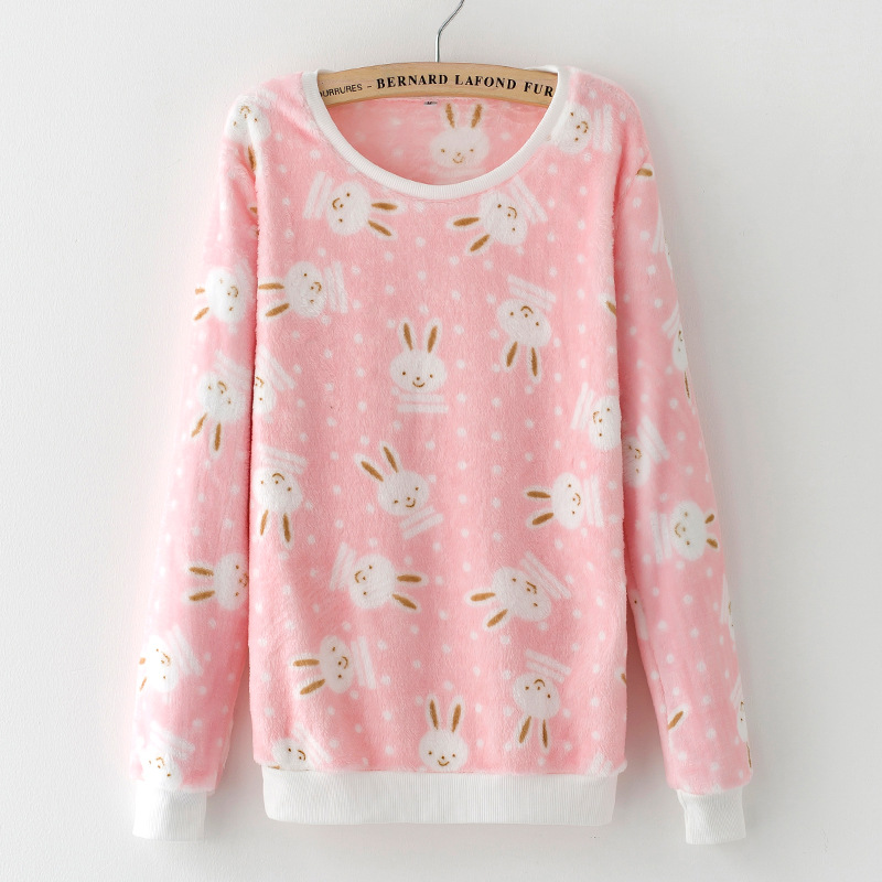"""Pink Cartoon Rabbit Print Pullover Sweater for 11.5/"""" Doll Clothes Outfits 1//6"""