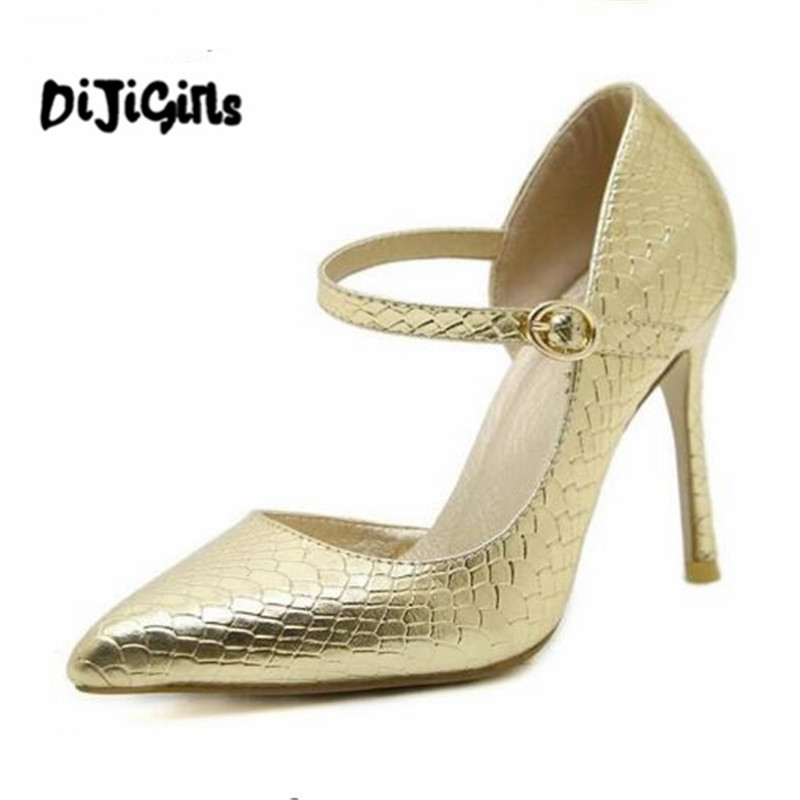 2018 Hot New Spring women stiletto Pumps party Pointed toe Snakeskin high heels shoes woman Sexy Female zapatos mujer choudory high heels woman pumps spring autumn flower decoration woman shoes attractive flock pointed toe party zapatos mujer