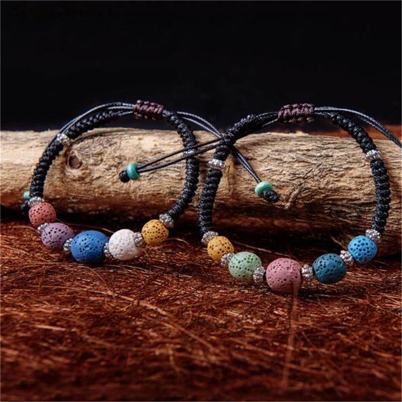 GraceAngie 1PC Natural Lava Rock Beaded Bracelet Braided Leather Cord Bracelets Bohemian Style Jewelry Women Fashion Accessory
