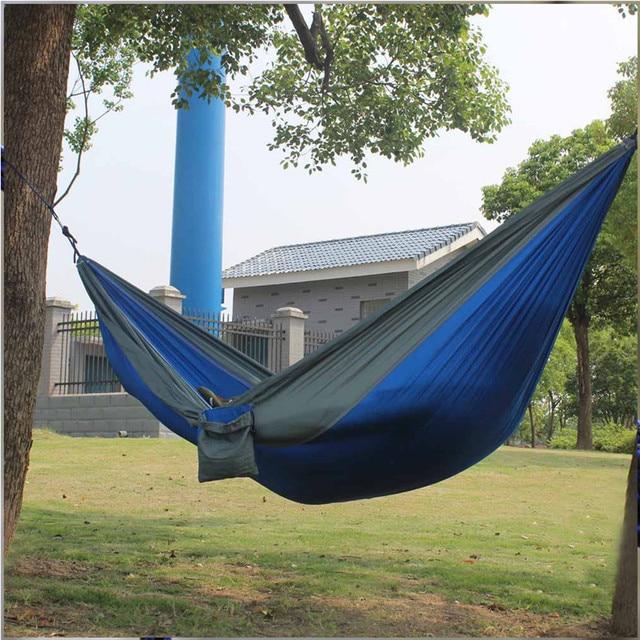 portable paracadas nylon telas jardn hamaca al aire libre viajes camping swing para doble dos personas - Hamaca Jardin