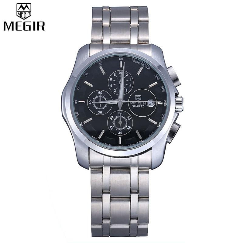 MEGIR Famous Brand Sport Watch Men Accurate Chronograph Multifunction Large Dial Stainless Steel Band Men Quartz
