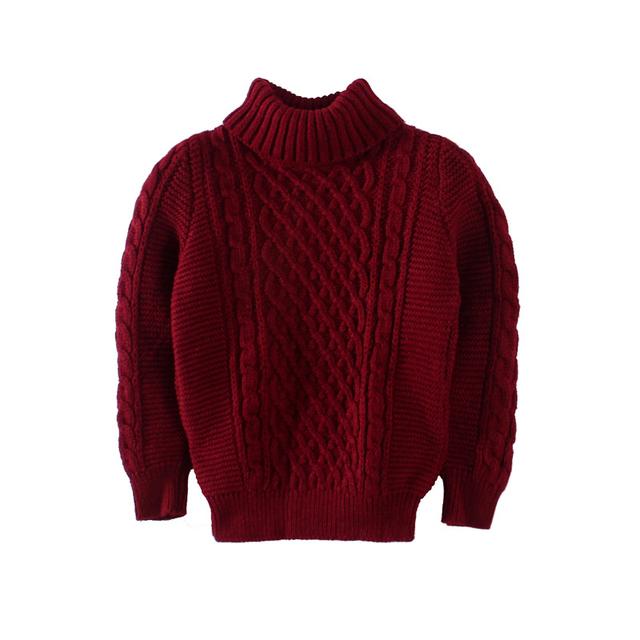 Los niños que arropan muchachos 1-4yrs calidad jersey de cuello alto niña bebé ropa de invierno cálido suéter pull-over