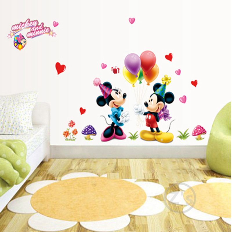 Mickey Mouse Minnie Mouse Wall Sticker Home Decor Cartoon Wall Decal DIY  For Kids Room Decal Baby Vinyl Mural Nursery AY602 In Wall Stickers From  Home ... Part 92