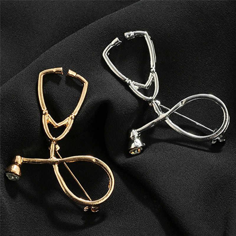 1PC Oro Argento Nero Stetoscopio Spilla Spilli Collare Corpetto Regalo Per I Medici Infermiera Medici Studente di Medicina di Laurea
