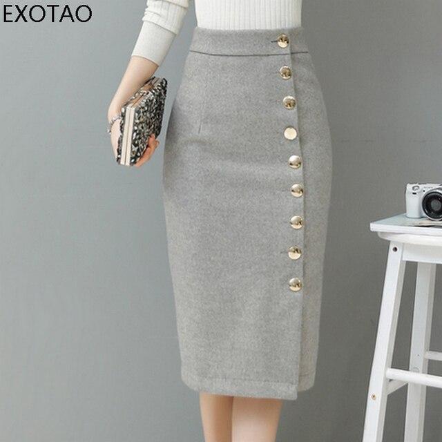 Exotao осень-зима юбка миди однобортный Высокая Талия теплые Saia feminina Твердые юбка-карандаш офисная Дамская мода Faldas