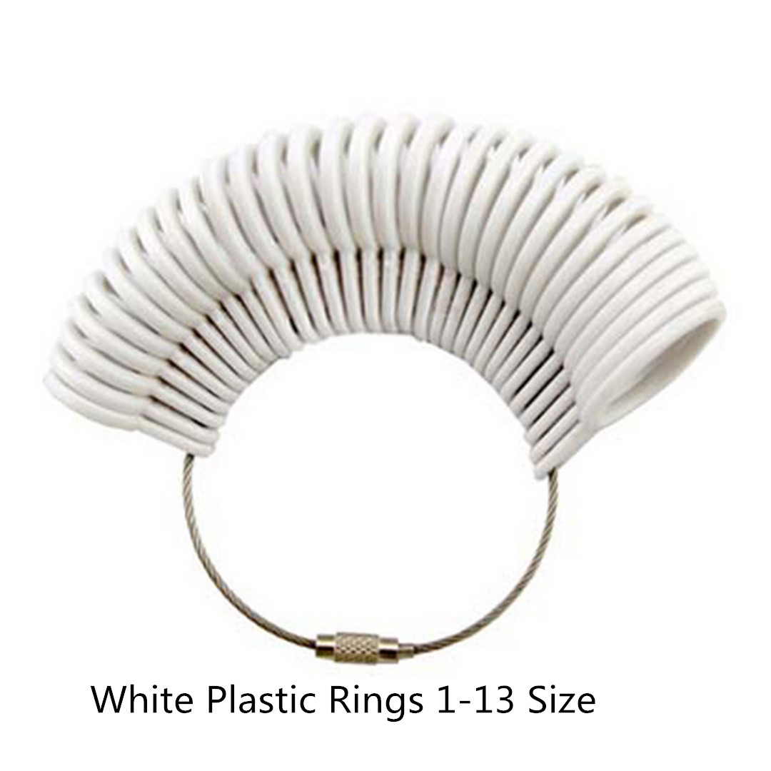 White Standard Ring Sizer Plastic Finger Ring US Ring Sizer Measure Finger Gauge for Wedding Ring Shellhard Jewelry Tools /& Equipments