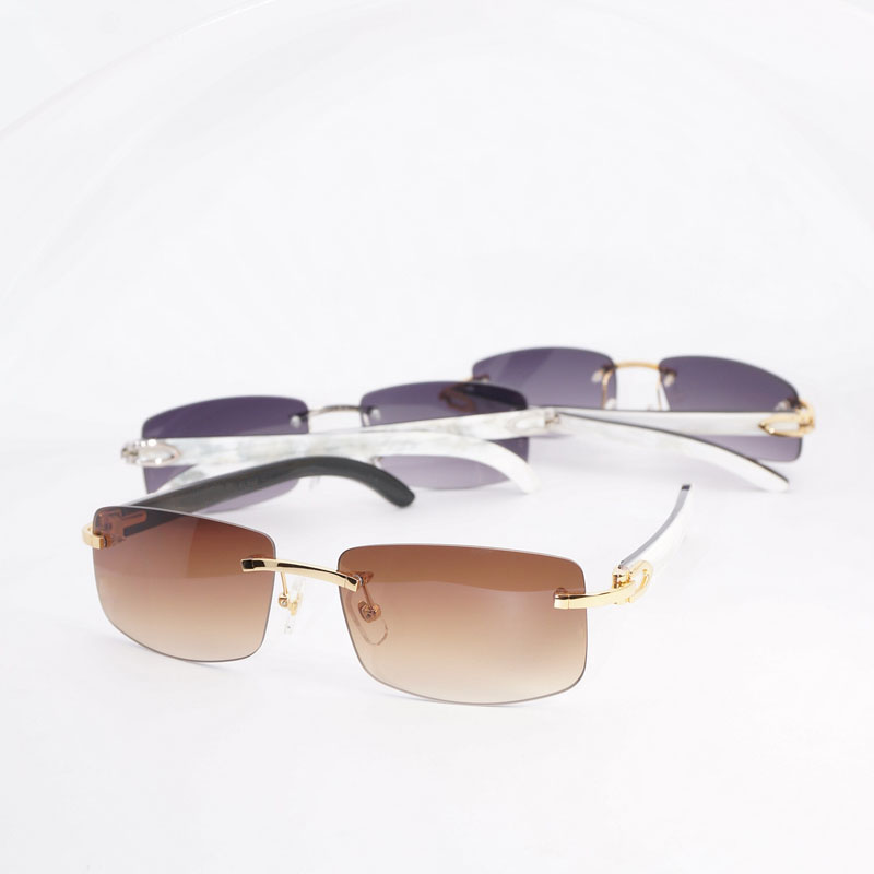 6b9c69271acde Natural Black White Buffalo Horn Sunglasses Men Wooden Eyewear Accessories  Oculos Shade Rimless Eyeglasses for Beaching