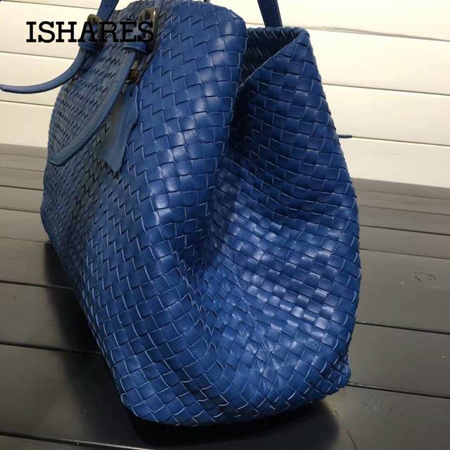 ISHARES fashion designer handbags genuine leather sheepskin shoulder bag weave large shopping bag brand handmade totes IS272154