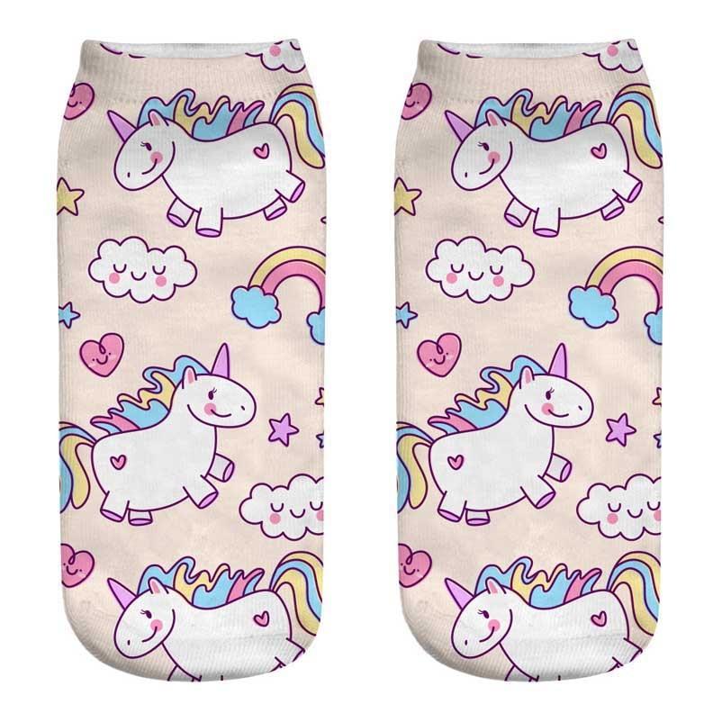 Women's Harajuku   Socks   2018 Girls Low Cut Ankle Sox Ladies Cotton Short Sokken Cartoon Funny Novelty Stock 3D Unicorn Art   Socks