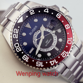 43mm BLIGER Half blue and half black color dial Ceramic Rotate Bezel 2017 New black dial function automatic mens Wrist watch