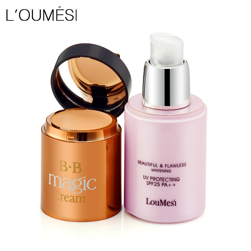 Loumesi bb kräm med concealer kräm Concealer Fuktgivande Foundation Makeup Bare Starkt Whitening Face Beauty Makeup Maquiage