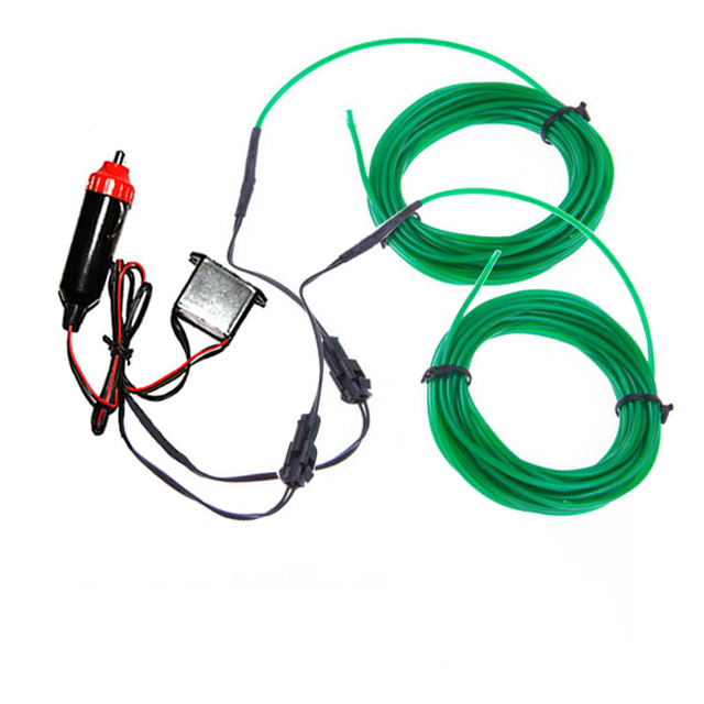 3M*2 10 Colors Emerald Green 2.3mm Diameter EL Wire Light Tron Neon ...
