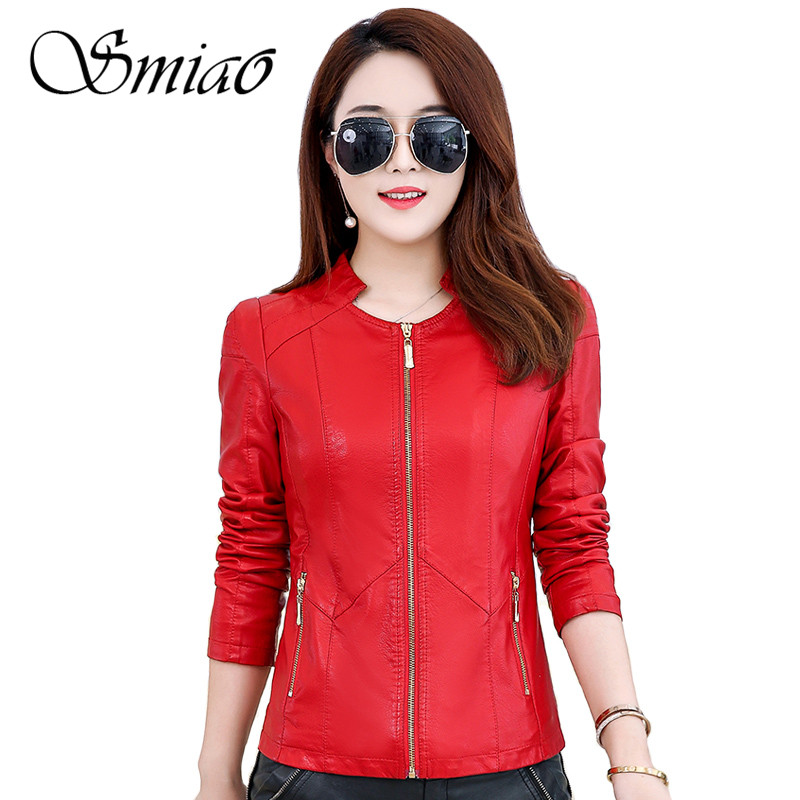 Smiao Pu   Leather   Jacket Women Fashion Bright Colors Black Motorcycle Coat Short Faux   Leather   Zipper Jacket Soft Jacket Female