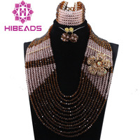 12 Strands Gorgeous Brown Peach Full Beads Crystal African Jewelry Sets Popular Wedding Necklaces for Brides Free shippingABH380