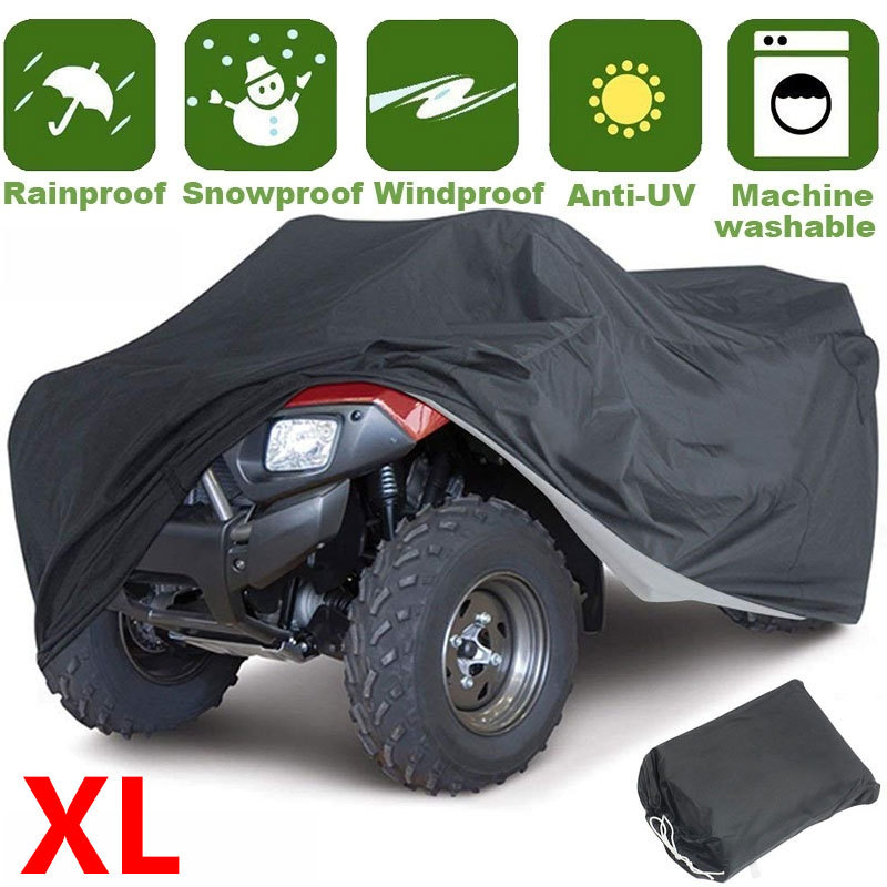 XL Black Universal Motorcycle Quad Bike ATV Cover Waterproof 190T 210*120*115CM Durable Outdoor UV Protection Heatproof Cover