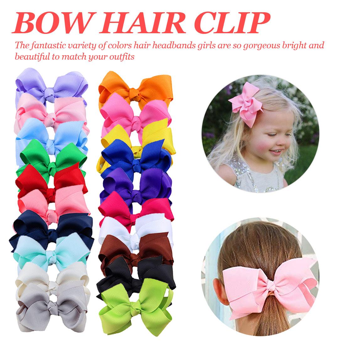 Kids Girls Hair Bows Brand Fashion Boutique Alligator Clip Grosgrain Ribbon Candy Color Headband