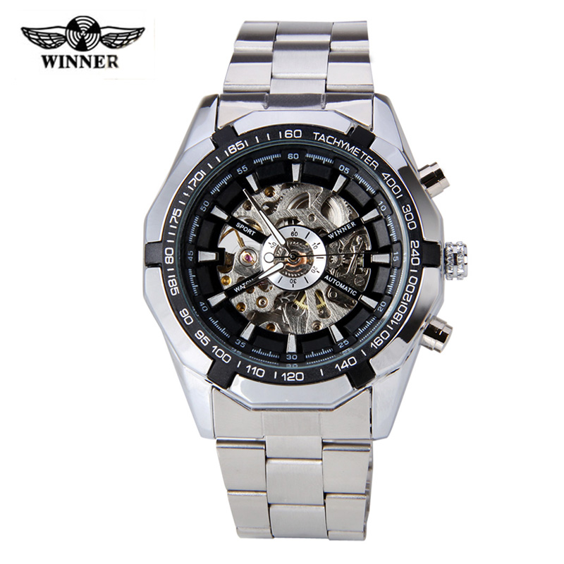 WINNER Men Luxury Brand Military Casual Skeleton Stainless Steel Watch Automatic Mechanical Wristwatch Gift Box Relogio Releges ik luxury fashion casual stainless steel men automatic mechanical watch skeleton watch for men s dress wristwatch free ship