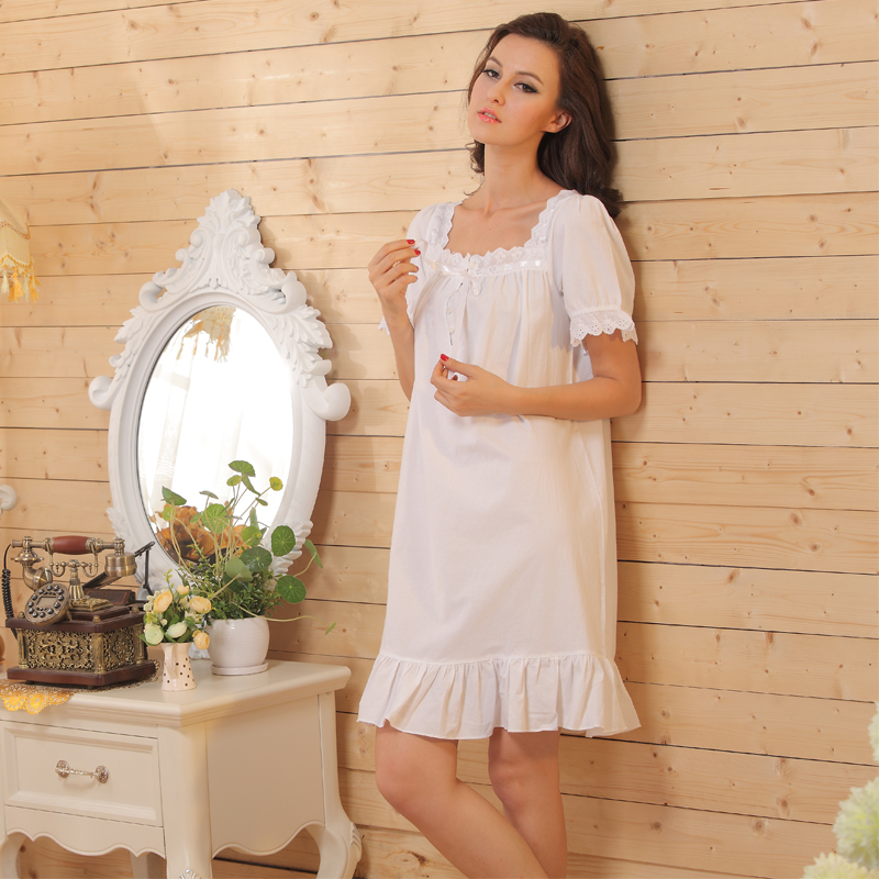 Short Sleeve Short Nightgowns Womens Nightdresses Sleepwear Summer Button Up Shirt Nightgown