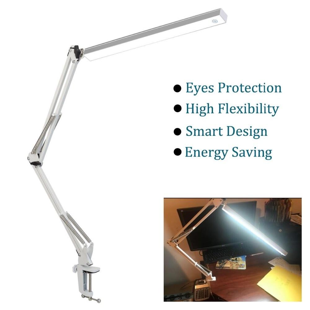 Flexible Swing Arm Clamp Desk Lamp Office Studio Home White Table Desk Light