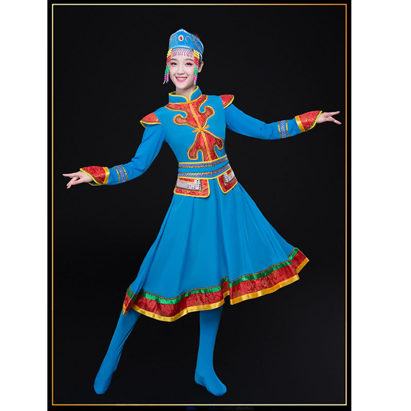 Woman Asian National Dress Mongolia Folk Dancing Dress,Minority Mongolian Cosplay Dancing Dresses In Four Colors Robes Outfits