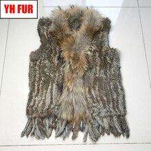 Venta caliente mujeres Chaleco de piel de conejo Real Casual Real de piel de mapache Collar Gilet señora hecho a mano tejido de piel de conejo Real chaleco chaleco
