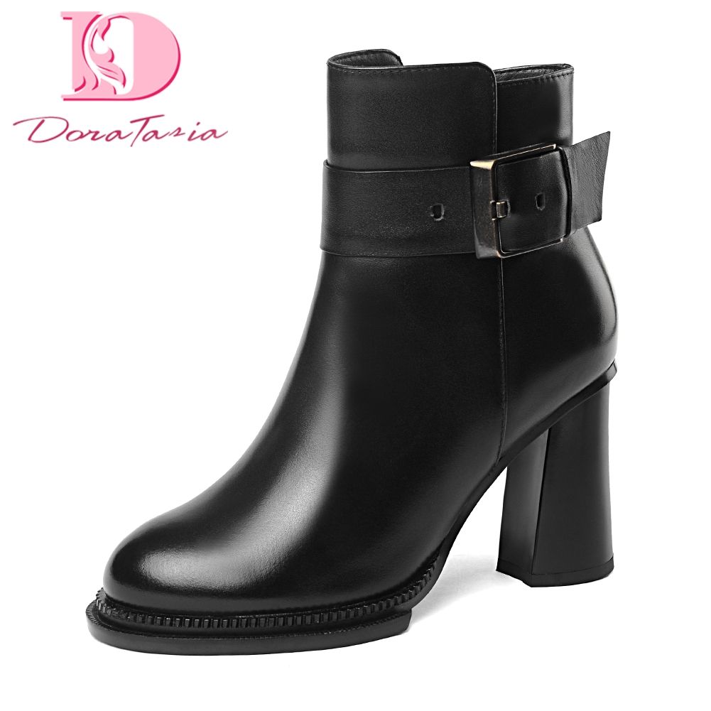 Doratasia 2018 Cow Leather genuine leather Women Shoes Woman Boots Chunky High Heels Zip Up party Ankle Boots Winter Shoes doratasia 2018 genuine leather zip up cow leather shoes woman martin boots chunky heels wholesale mid calf boots woman shoes