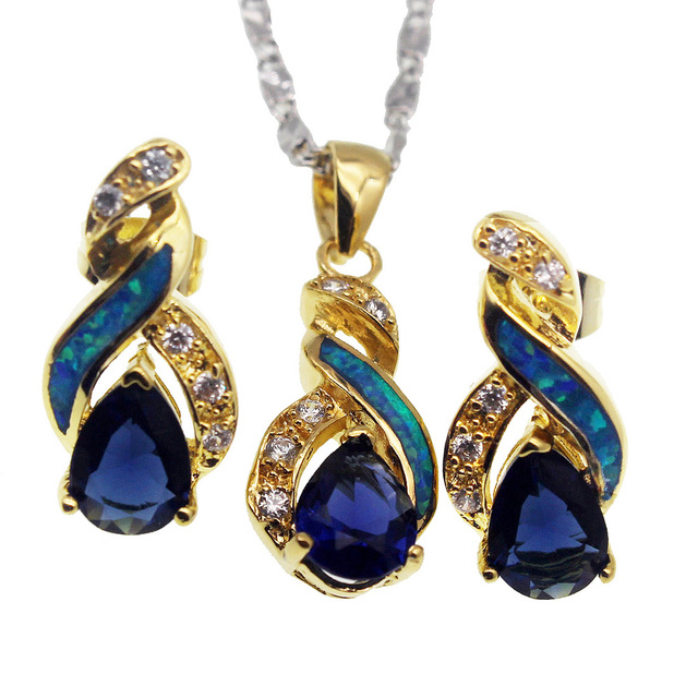 Excellent Fire Australian Opal Jewelry Set Yellow Golden Earrings Pendant  ZB05