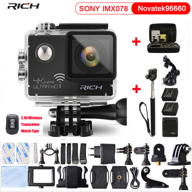 RICH Action Camera HD 4K 1080P Novatek 96660 2.0 LCD Wifi Waterproof Helmet Diving Mini Cam Extreme Mini Sport Camera 2017 arrival original eken action camera h9 h9r 4k sport camera with remote hd wifi 1080p 30fps go waterproof pro actoin cam