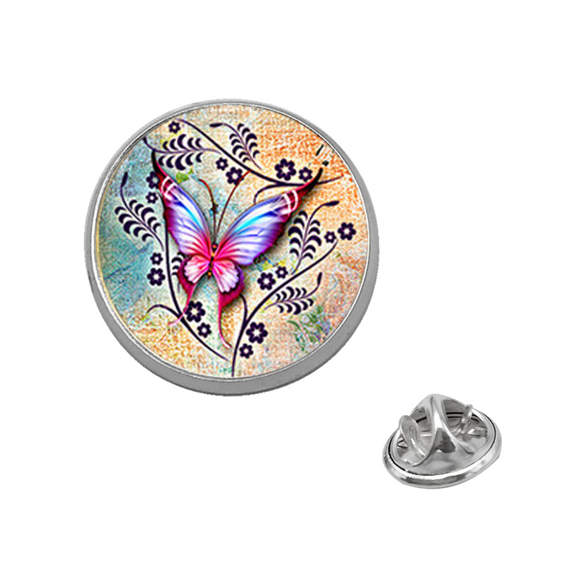 Capable Suteyi Colors Butterfly Brooches Fashion Insect Pins Glass Dome Red Yellow Brooch Girl Women Men Charms Jewelry Careful Calculation And Strict Budgeting Brooches Jewelry Sets & More