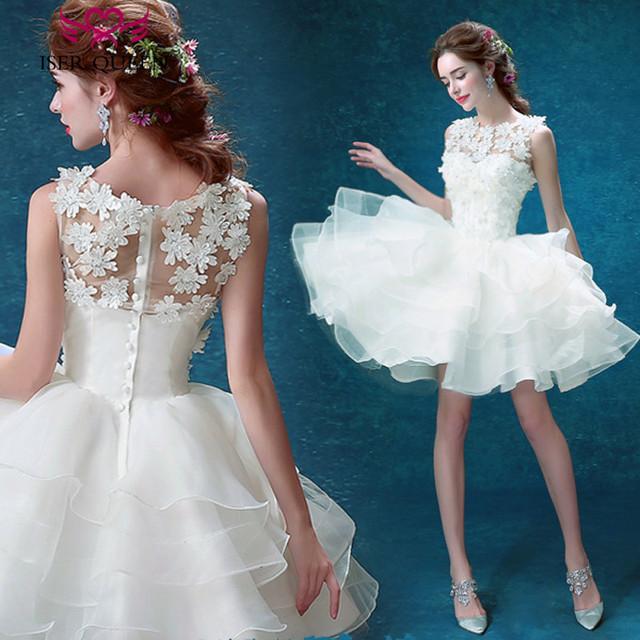 3D Floral Appliques Ruffles Short Wedding Dresses Sheer Neck Puff Skirt Zipper back Sleeveless Beach Wedding Dress W0194