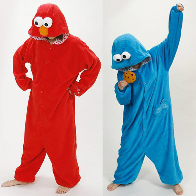Adult unisex animal pajamas one piece cookie monster cosplay pajama onesies  for adults animal pajama free shipping 9cb2af938
