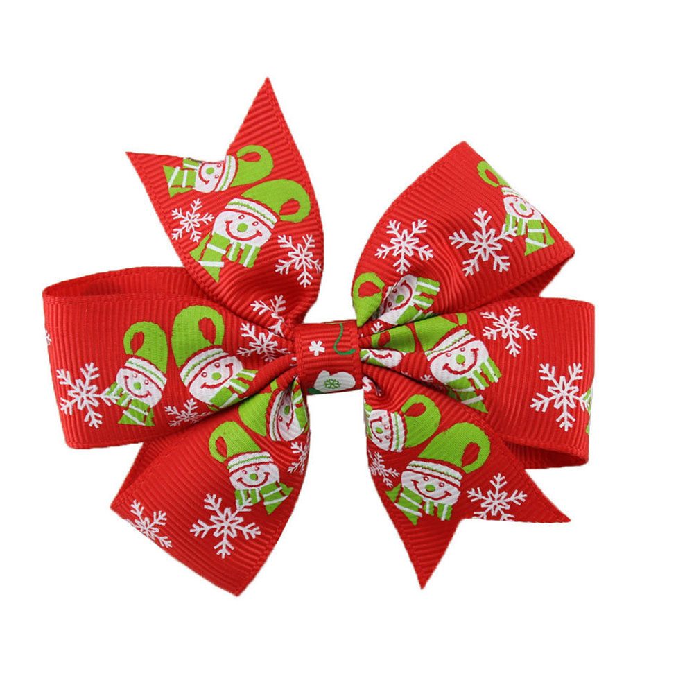 Fashion New Bow Large Layered Boutique Spike Christmas Bows Hairpin Clip In Red Green Party Hair Accessary Color Random