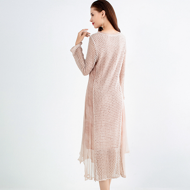 Longues O Femmes Cou Évider À Printemps Patchwork Manches Mode Nouveau Longue Conception Soie 2019 De Style 100 Robe Tricoté Solide Px10qw0