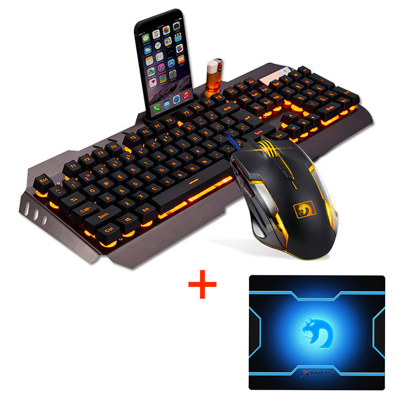 M398 Wired Orange LED Backlit Ergonomic Usb Gaming Keyboard Mouse Combo + 2400DPI Optical 6 Buttons Gamer Mouse Sets + Mouse Pad цены онлайн