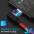Магнитное зарядное устройство с углом 90 градусов, Micro USB PD, кабель 1 м, 3A, быстрая зарядка для Samsung, Huawei, Xiaomi, L-Line, Type-C, магнитное зарядное устройс...
