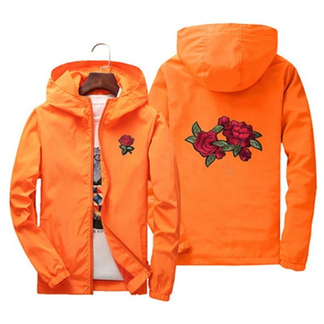 Spring Autumn women Unisex hooded Coats cute rose embroidery Europe US students Pretty style casual orange red zipper jackets