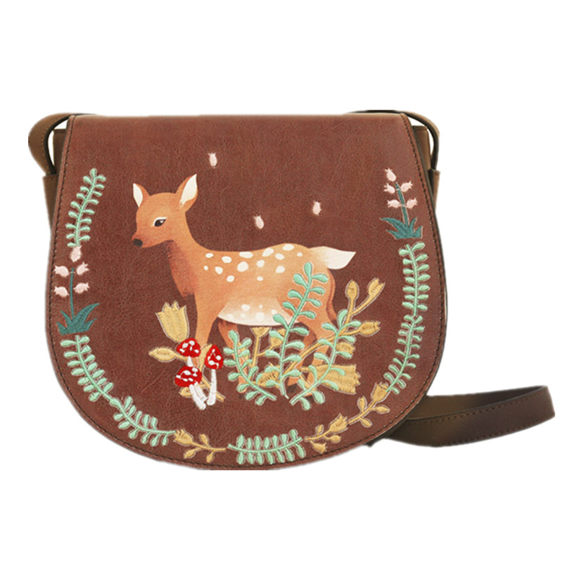 Fashion Floral Embroidery Animal Print Coffee Saddle Deer Women Bag PU Women's Shoulder Messenger Crossbody Bags Bolsa Feminina