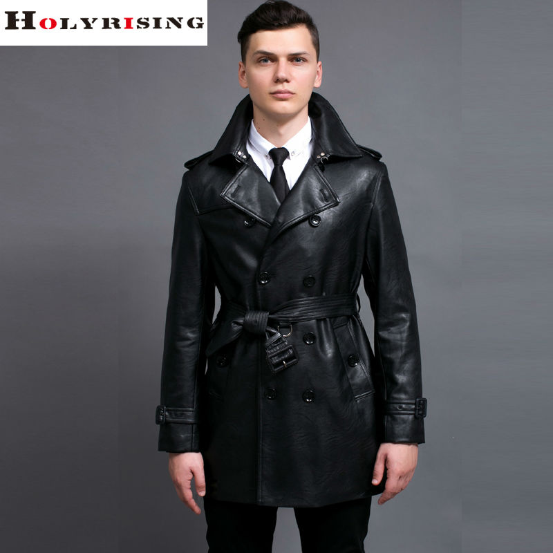 Fashion Black Trench Coat Men Spring Autumn Style Casual Double Breasted PU Trenchcoat Slim Turn Collar Windbreaker Size S-6XL